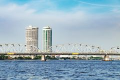 Landscape of River in Bangkok city, Thailand. Bangkok, Thailand - December 8, 2015: Panoramic view of modern Bangkok with skyscrapers and Somdet Phra Pin Klao Royalty Free Stock Photo