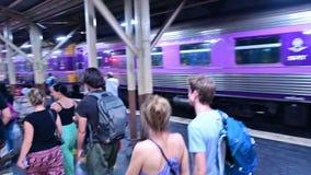 Bangkok, Thailand - December 24, 2018 : Passenger walking to train terminal after arrival at Hua Lamphong central station.  stock footage