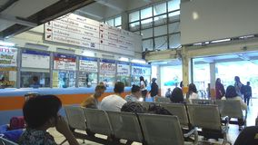 BANGKOK, THAILAND - December 8, 2017: People at Ekkamai bus station for travel to eastern part of Thailand to the. Popular tourist sites like Pattaya. The stock video