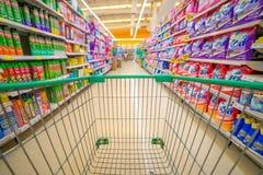 Bangkok Thailand, 5 DECEMBER 2015: Rows of shelves in Big C supe Royalty Free Stock Photo