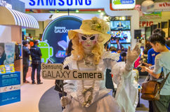 Samsung girl mascot to promote Samsung Galaxy came Royalty Free Stock Photo