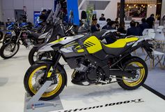 Suzuki V-Strom sport touring motorcycle. Bangkok, Thailand - December 11, 2017: Suzuki V-Strom sport touring motorcycle presented in Motor Expo 2017 Stock Photography