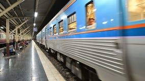 Bangkok, Thailand - December 24, 2018 : Train arrival to Hua Lamphong central station.  stock video footage