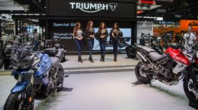 Triumph presenters present new motorcycle model. Bangkok, Thailand - December 11, 2017: Triumph presenters present new motorcycle model in Motor Expo 2017 Stock Image
