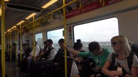 BANGKOK, THAILAND - December 5, 2017: Undefined Travellers inside BTS Skytrain. BANGKOK, THAILAND - December 5, 2017 Undefined Travellers inside BTS Skytrain stock video footage