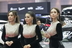 Unidentified modellings present at Motor Show. Bangkok-Thailand-3 December 2017: Unidentified modellings present at Motor Show Muangthong 2017 - The biggest Royalty Free Stock Photos