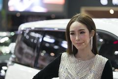 Unidentified modellings present at Motor Show. Bangkok-Thailand-3 December 2017: Unidentified modellings present at Motor Show Muangthong 2017 - The biggest stock image