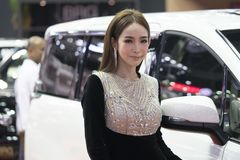 Unidentified modellings present at Motor Show. Bangkok-Thailand-3 December 2017: Unidentified modellings present at Motor Show Muangthong 2017 - The biggest stock photo