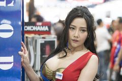 Unidentified modellings present at Motor Show. Bangkok-Thailand-3 December 2017: Unidentified modellings present at Motor Show Muangthong 2017 - The biggest royalty free stock image