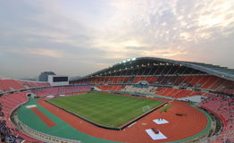 Bangkok , Thailand - December 8 ,2016 : View of Rajamangala home national stadium of Thailand against twilight sky before match to. Night Royalty Free Stock Images