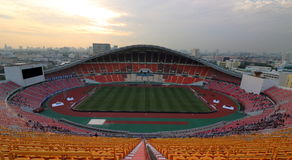Bangkok , Thailand - December 8 ,2016 : Wide angle shot of Rajamangala stadium before final match to night Stock Photography
