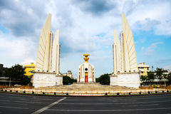Bangkok, Thailand. Democracy monument in the center. Of Bangkok, Thailand. Popular touristic monument with cloudy sky stock photos