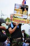 Bangkok/Thailand - 11 24 2012: Det thailändska folket protesterar mot gouvernmenten på den kungliga plazaen Arkivfoto