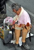 Bangkok, Thailand: Double Amputee Begging on Silom Road Stock Photography