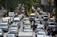 Bangkok, Thailand: Evening Rush Hour Traffic. Bumper-to-bumper traffic on congested Wireless Road during the evening rush hour in Bangkok, Thailand Royalty Free Stock Photos