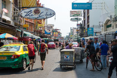 Bangkok, Thailand. - Feb 10 2015: Khaosan road. a famous backpac. Ker street Khao San in Bangkok, Thailand Royalty Free Stock Photography