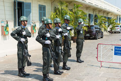 Bangkok, Thailand. - Feb 09 2015: Kings Guards are marching in G Royalty Free Stock Photo