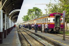 Lifestyle of diverse people travel with Rail transport. BANGKOK, THAILAND - 1 Feb 2018 : Lifestyle of people passenger travel with Rail transport on evening Royalty Free Stock Image
