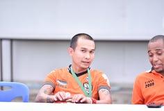 BANGKOK, THAILAND-FEB 2,2014: Teerasak pho-en Headcoach Chiangra Fotos de archivo libres de regalías