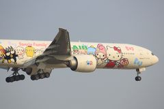 Hello Kitty EVA Airliners. Bangkok/Thailand Februar 9, 2015: Boeing 777 from EVAAirliners with `Hello Kitty` landing at Bangkok Airport Stock Images