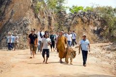 BANGKOK THAILAND - FEBRUARI 2014: Folk med tigertemplet Royaltyfri Bild