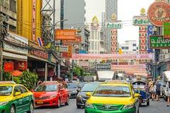 BANGKOK THAILAND - FEBRUARI 1: gataplats i kineskvarteret, Bangko Fotografering för Bildbyråer