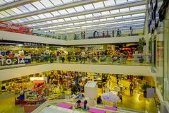 BANGKOK, THAILAND, FEBRUARY 02, 2018: Above view of unidentified people inside of Siam Paragon shopping mall in Bangkok. Thailand Royalty Free Stock Images