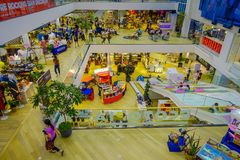 BANGKOK, THAILAND, FEBRUARY 02, 2018: Above view of unidentified people inside of Siam Paragon shopping mall in Bangkok. Thailand Stock Images