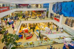 BANGKOK, THAILAND, FEBRUARY 02, 2018: Above view of unidentified people inside of Siam Paragon shopping mall in Bangkok. Thailand Royalty Free Stock Photos
