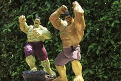 Close up shot of Hulk in AVENGERS superheros figure in action stock photos