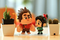 Close up shot of Ralph and Vanellope ,Model figure Toy stock photography