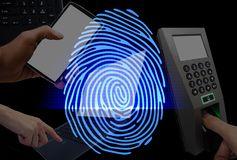 Fingerprint scan provides security access with biometrics identi. BANGKOK Thailand 22 February 2018 : Fingerprint scan provides security access with biometrics Royalty Free Stock Photo