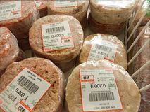 BANGKOK, THAILAND - FEBRUARY 10: Hygienic frozen pork burger patty for sale in Foodland supermarket in Bangkok on February 10,. 2019 royalty free stock photography