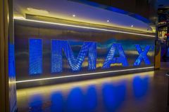BANGKOK, THAILAND, FEBRUARY 02, 2018: Indoor view of Imax words in a wall inside of Siam Paragon shopping mall. With 16. Screens and 5,000 seats, the Cineplex Stock Photo