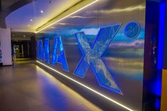 BANGKOK, THAILAND, FEBRUARY 02, 2018: Indoor view of Imax words in a wall inside of Siam Paragon shopping mall. With 16. Screens and 5,000 seats, the Cineplex Royalty Free Stock Images