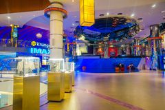 BANGKOK, THAILAND, FEBRUARY 02, 2018: Indoor view of Siam Paragon shopping mall. With 16 screens and 5,000 seats, the. Cineplex is Thailands largest movie Stock Image