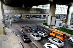 Bangkok / Thailand - Feb 24 2018 : Traffic jam at Ratchavidhi junction stock image