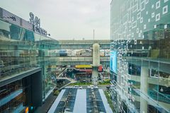 BANGKOK, THAILAND, FEBRUARY 02, 2018: Outdoor view of Siam Paragon shopping mall surrounding of glasses in Bangkok. Thailand Stock Photography