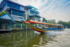 BANGKOK, THAILAND - FEBRUARY 09, 2018: Outdoor view of turist enjoying the trip in a long tail boat at yai canal or. Khlong Bang Luang Tourist Attraction in Stock Image