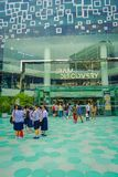 BANGKOK, THAILAND, FEBRUARY 02, 2018: Outdoor view of unidentified turists at Siam Paragon shopping mall in Bangkok. Thailand Royalty Free Stock Photography