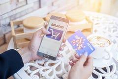 Bangkok, Thailand - February 12,2017: Samsung showing Amazon app Stock Photos