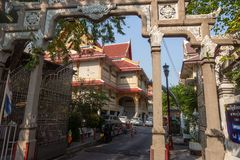 Bangkok,Thailand February 14, 2019:  temple at China town, view through the gate royalty free stock image