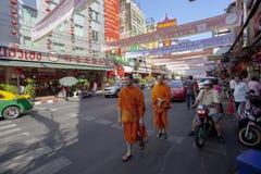 Bangkok thailand - february 24,2015 : thai monk walking in yaowa Royalty Free Stock Images