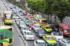 Bangkok, Thailand - 26 February 2017 : Traffic jam near Chong No. Nsi Station in the downtown of bangkok Stock Image