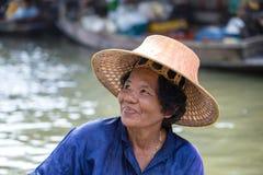 Portrait thai woman in Taling Chan Floating Market, Bangkok, Thailand. BANGKOK, THAILAND - FEBRUARY 14, 2016 : Unidentified portrait thai woman in Taling Chan Royalty Free Stock Photos