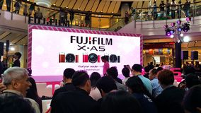 BANGKOK, THAILAND - FEBRUARY 20, 2018: Unveil event of Fujifilm. X-A5, the latest mirrorless camera X-A Series for entry customer segment from Fujifilm that has stock image
