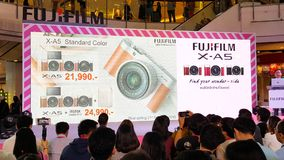 BANGKOK, THAILAND - FEBRUARY 20, 2018: Unveil event of Fujifilm. X-A5, the latest mirrorless camera X-A Series for entry customer segment from Fujifilm that has royalty free stock photo
