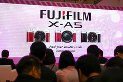 BANGKOK, THAILAND - FEBRUARY 20, 2018: Unveil event of Fujifilm. X-A5, the latest mirrorless camera X-A Series for entry customer segment from Fujifilm that has stock photography