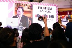 BANGKOK, THAILAND - FEBRUARY 20, 2018: Unveil event of Fujifilm. X-A5, the latest mirrorless camera X-A Series for entry customer segment from Fujifilm that has royalty free stock images