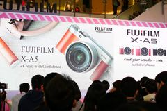 BANGKOK, THAILAND - FEBRUARY 20, 2018: Unveil event of Fujifilm. X-A5, the latest mirrorless camera X-A Series for entry customer segment from Fujifilm that has royalty free stock photography